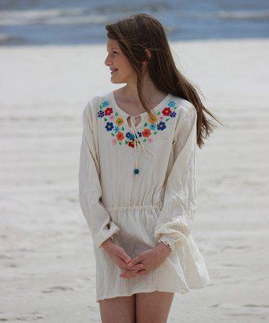 Look at this #zulilyfind! Ivory Brooke Tunic Dress - Girls by Little Cotton Dress #zulilyfinds