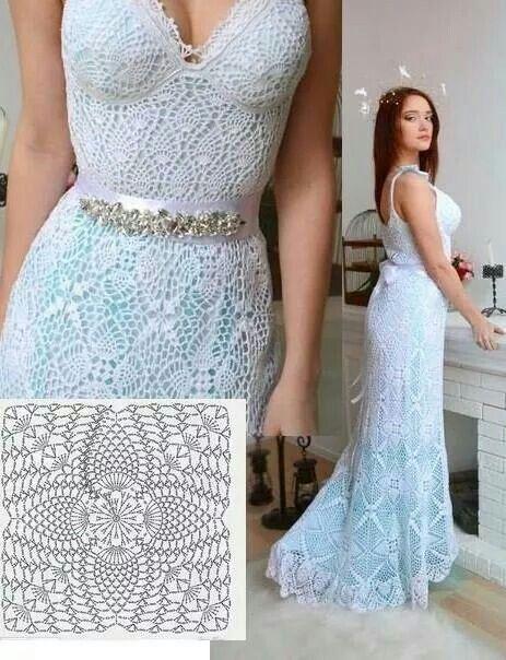 vestido de novia con granny´s con piñas   crochet dress   crochê