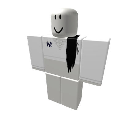 White Laced Ny Crop Pullover W Black Hair Black Hair Roblox Roblox Shirt White Lace