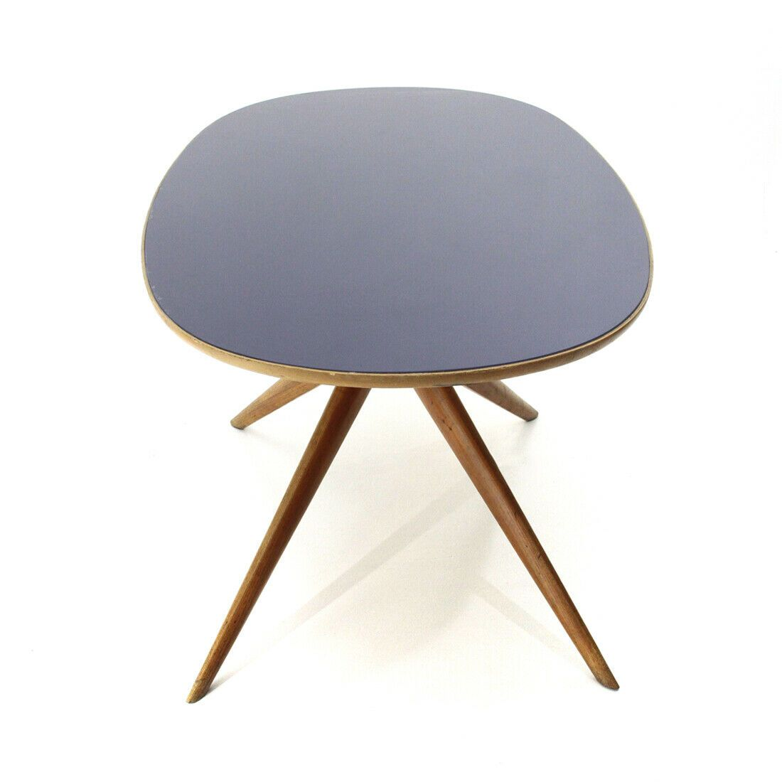 Tavolo ovale con piano in vetro blu anni \'50, dining table ...