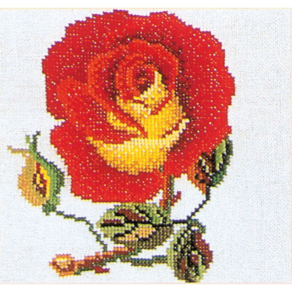 The Thea Gouverneur Red with Yellow Rose On Aida counted-cross-stitch Kit features a stylish design with intricate details that can be replicated beautifully using a variety of colors. This counted-cr