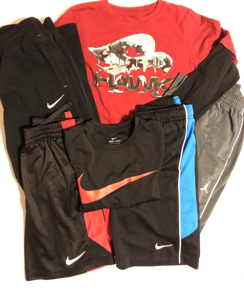 8719a8d29e0 Lot Of 6 Boys Nike Jordan Pants, Shirt, Dri Fit Shorts Size M And L 10/12  EUC | eBay