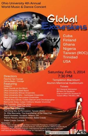 Ohio University 4th Annual World Music & Dance Concert - Global Excursions at Templeton-Blackburn Alumni Memorial Auditorium in Athens, OH 02-01-2014