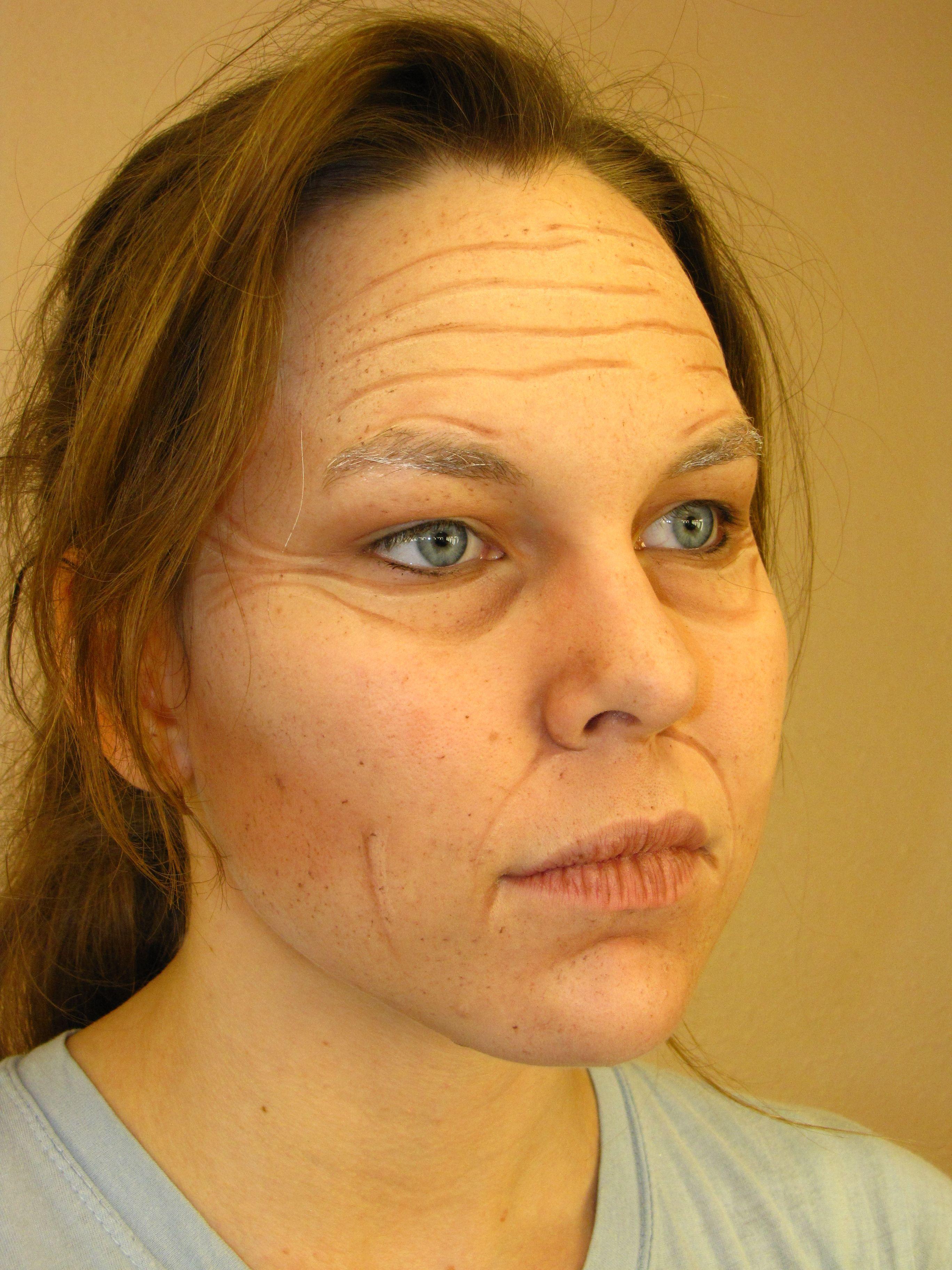Extreme Old Age Makeup Test Use Ben Nye base, highlight