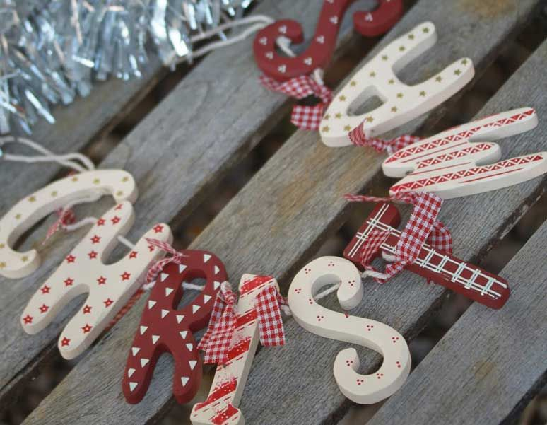 Extra Large Style Vintage Métal candy cane christmas Garland Bunting Décoration