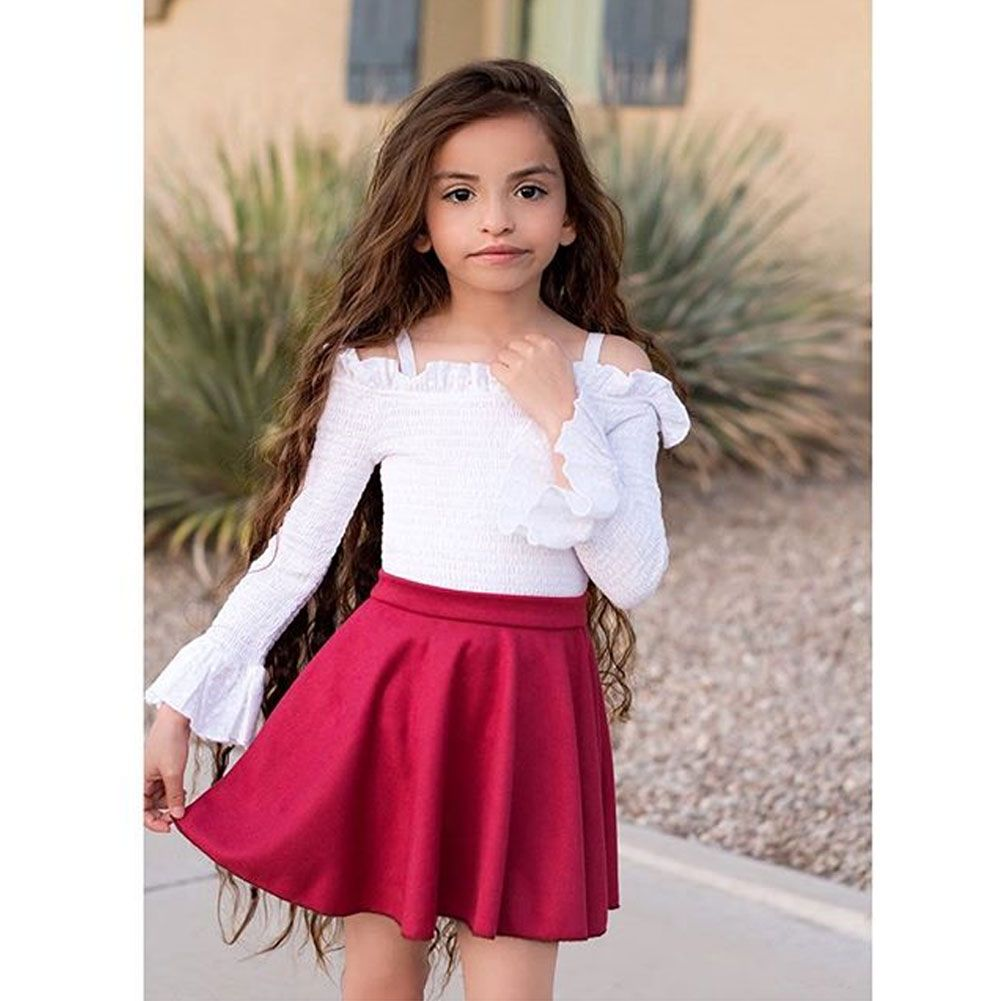 Kids Baby Girls Skirt Outfits Flare Sleeve Sling Off Shoulder Tops Ruffle  Skirt Clothes 2Pcs Sets | Fall dress outfit, Outfits, Girl skirt