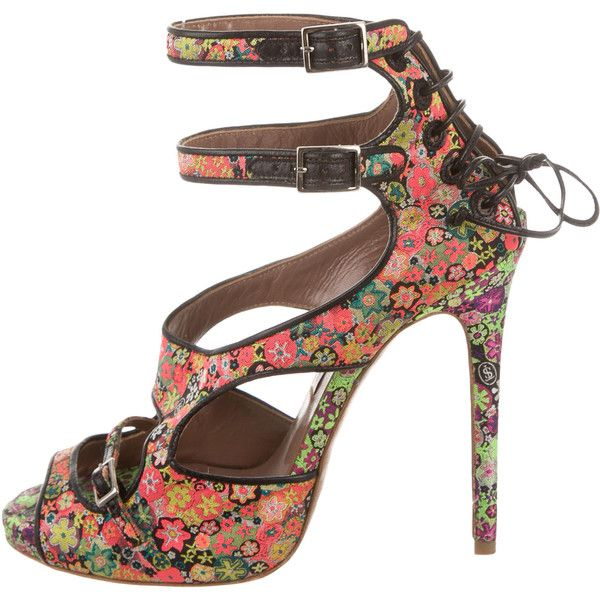 Pre-owned Tabitha Simmons Floral Print Multistrap Sandals ($225) ❤ liked on Polyvore featuring shoes, sandals, multi color shoes, lace-up sandals, colorful sandals, lace up shoes and multi-strap sandals