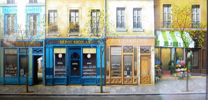 Limited Edition Print Boutiques A Paris By Andre Renoux With
