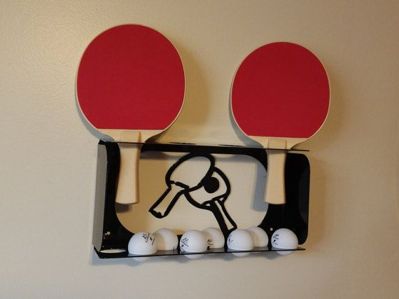 Paddle Board Rack >> Ping-Pong Paddle and Ball Rack / Wall-mount Ping Pong Storage Shelf / Metal Table Tennis Gear ...