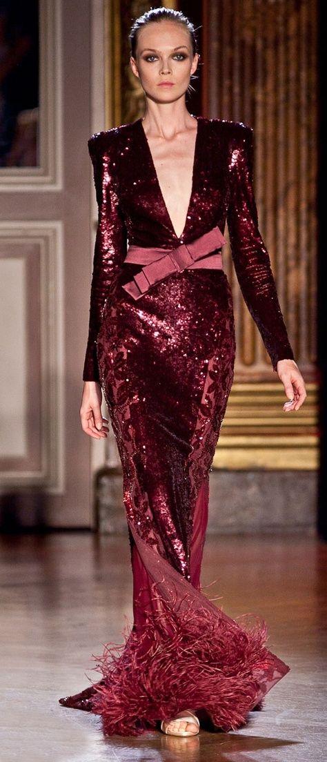 sparkling burgundy gown