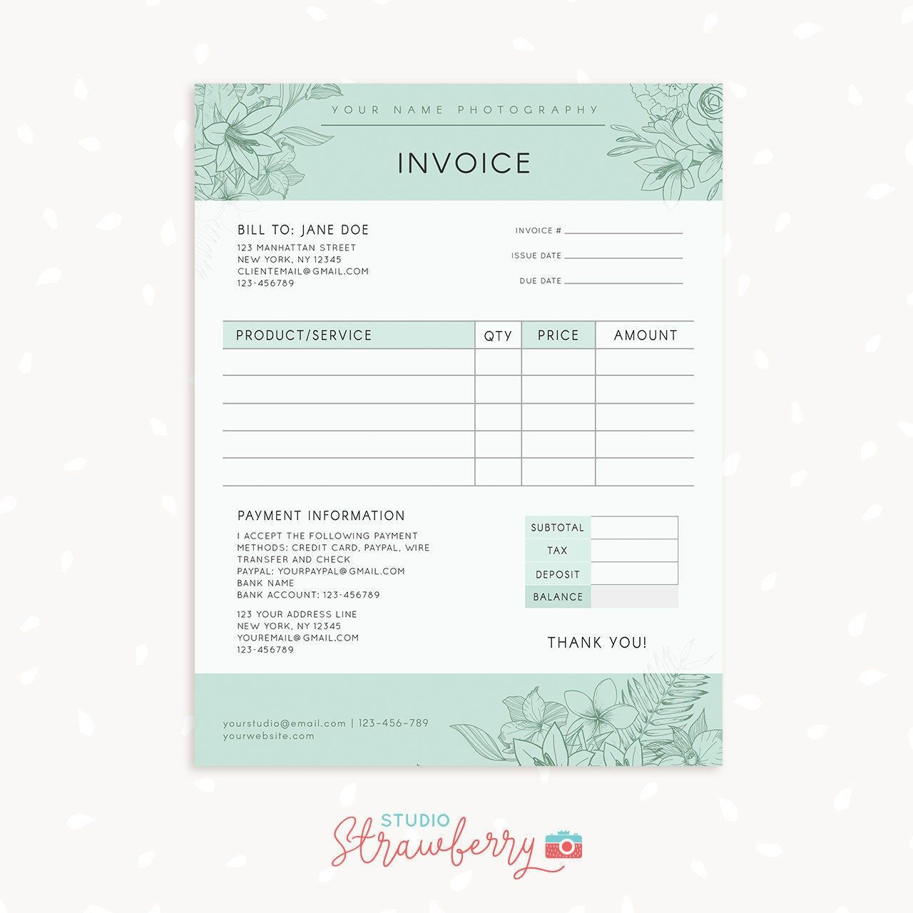 Invoice Template Photography Invoice Business Invoice Etsy Photography Invoice Photography Invoice Template Invoice Design Template