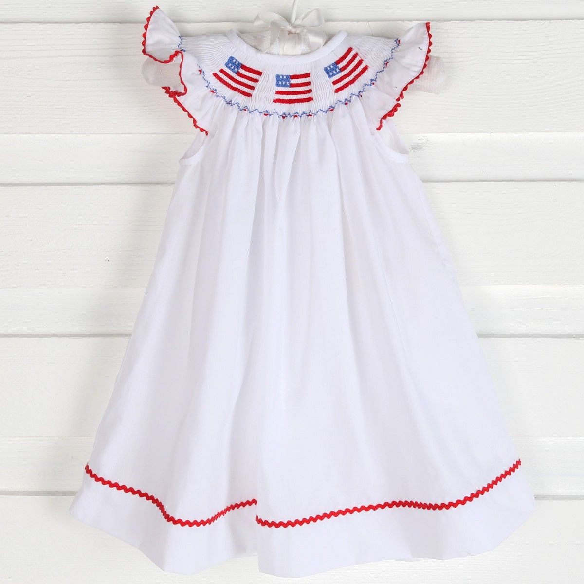 Smocked Patriotic Flag Dress White - Pre-Orders Smocked Auctions