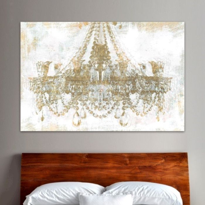 Gold diamonds faded graphic art on wrapped canvas