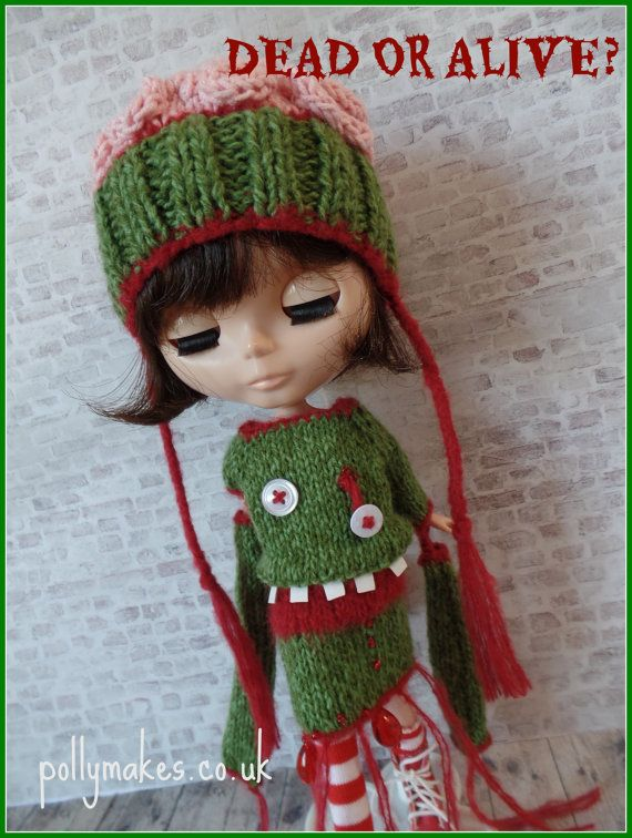 PDF knitting pattern - Zombie dress and brains hat for 12\