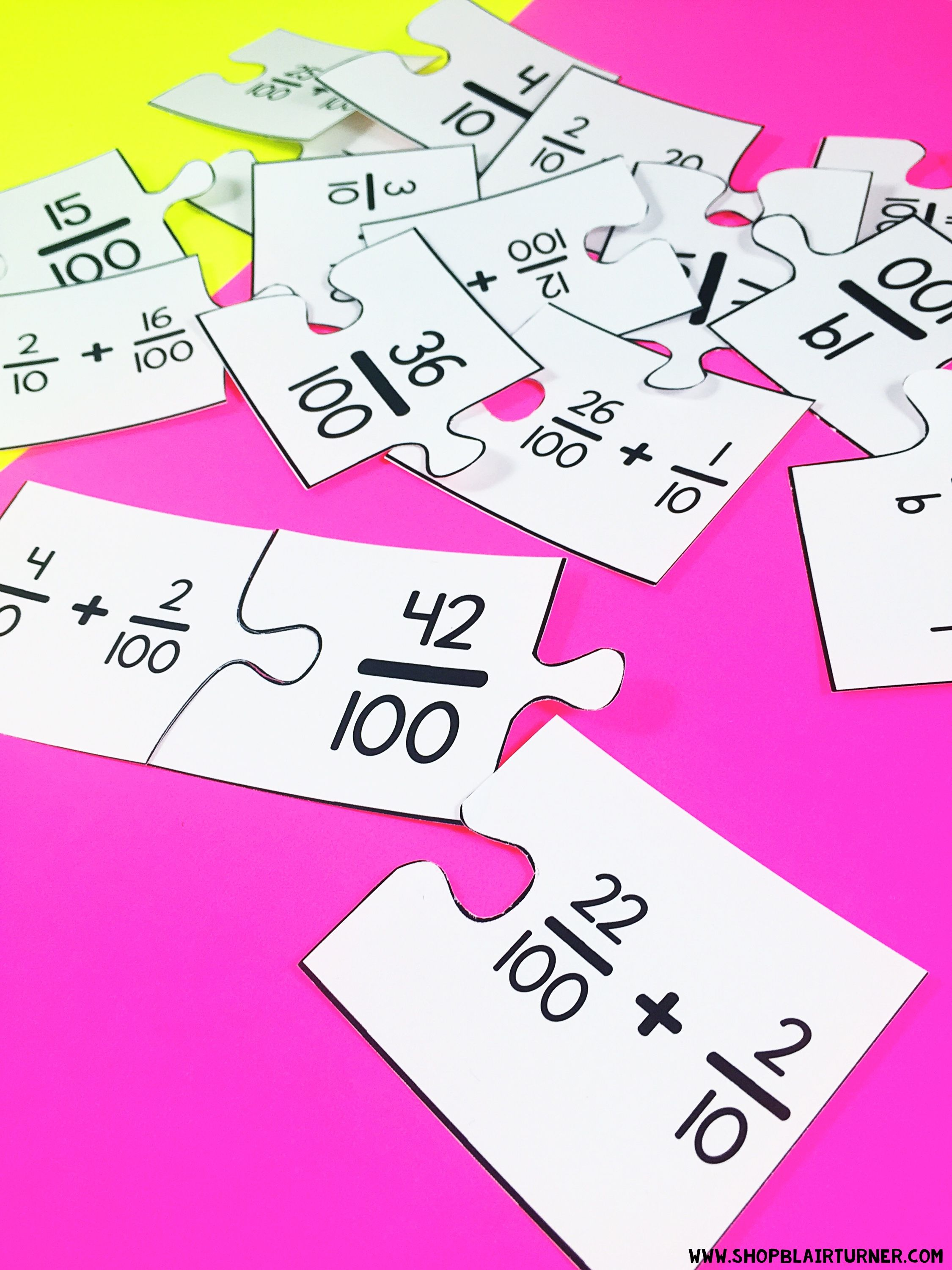Fraction Puzzles: 4th Grade Math Centers 4 NF 5 | Math