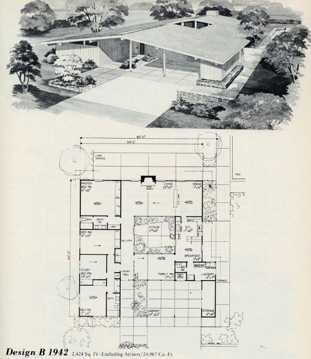 The Atrium Modern Floor Plans Vintage House Plans Mid Century Modern House Plans