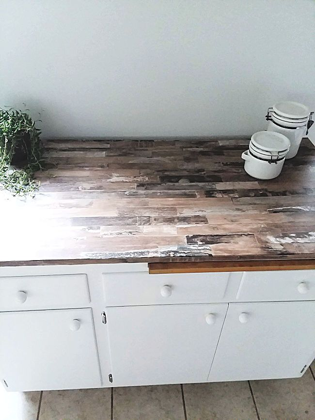 Make A Faux Wood Countertop With Peel And Stick Wallpaper Stow Tellu Wood Countertops Vinyl Countertops Tile Countertops Kitchen
