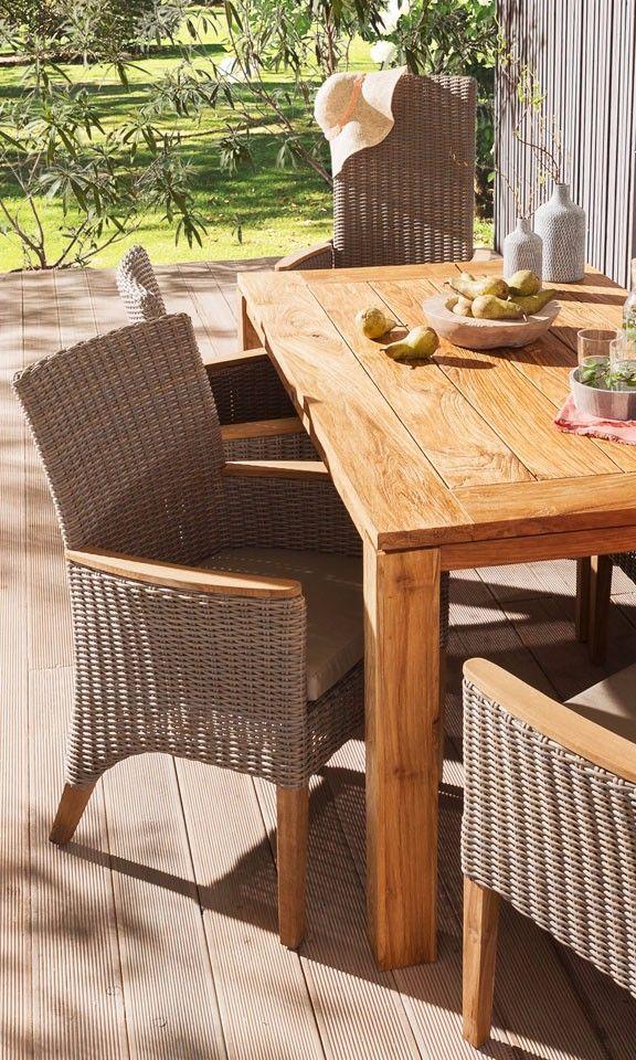 Braun Grauer Gartenstuhl Aus Geflecht Von Outliv Gartenmobel Terassenmobel Holz Aussenmobel