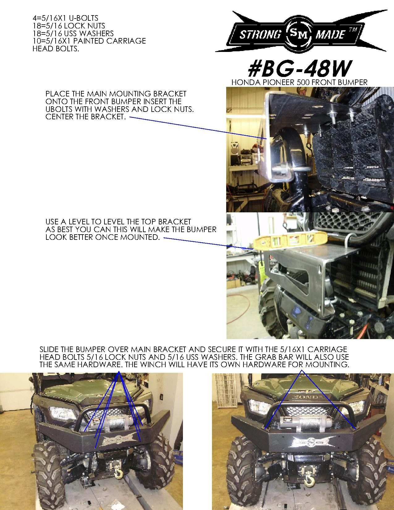 Bg 48w winch series front bumper for 2015 honda pioneer 500 4x4