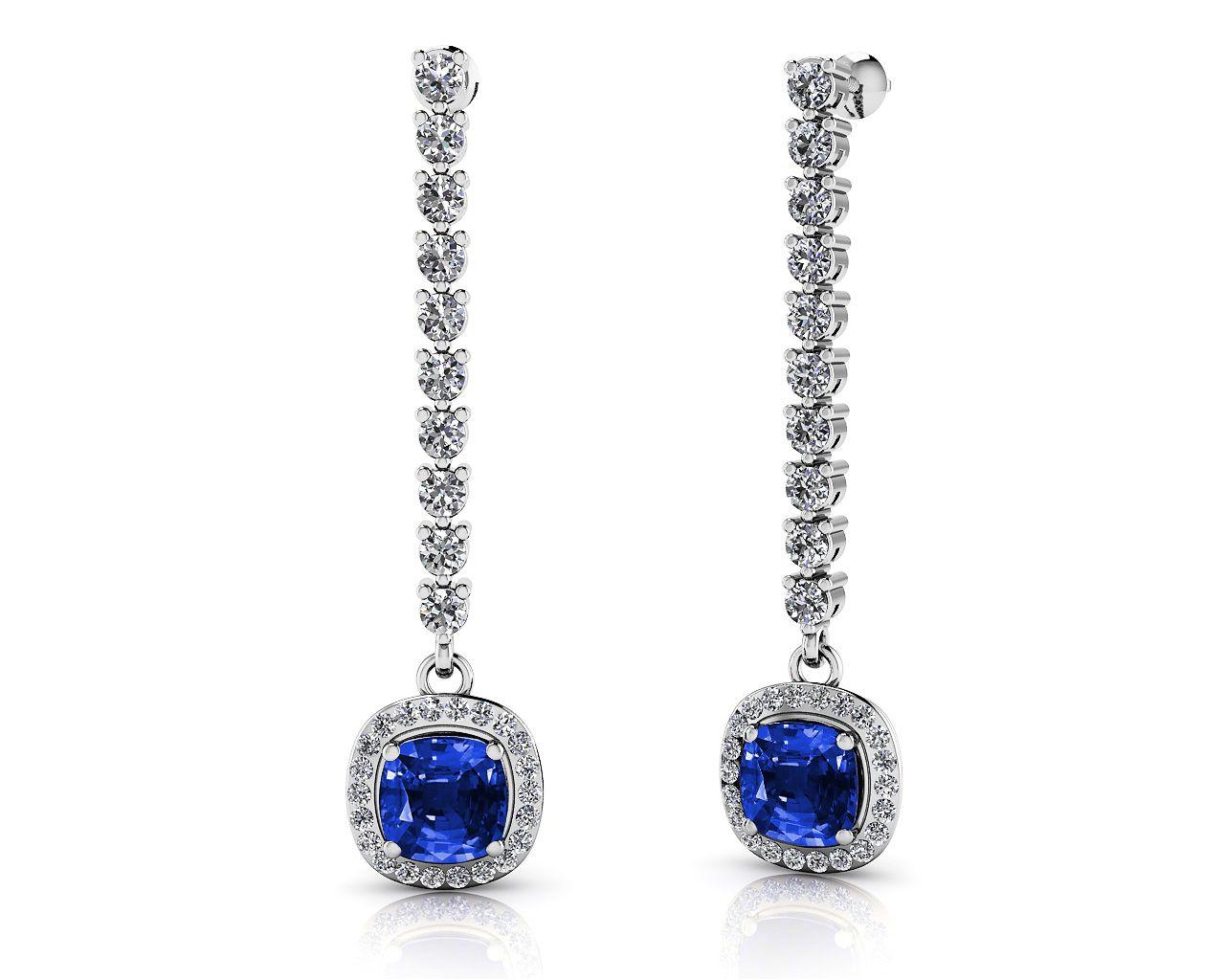 Modern Elegance Cushion Cut Diamond Drop Earrings