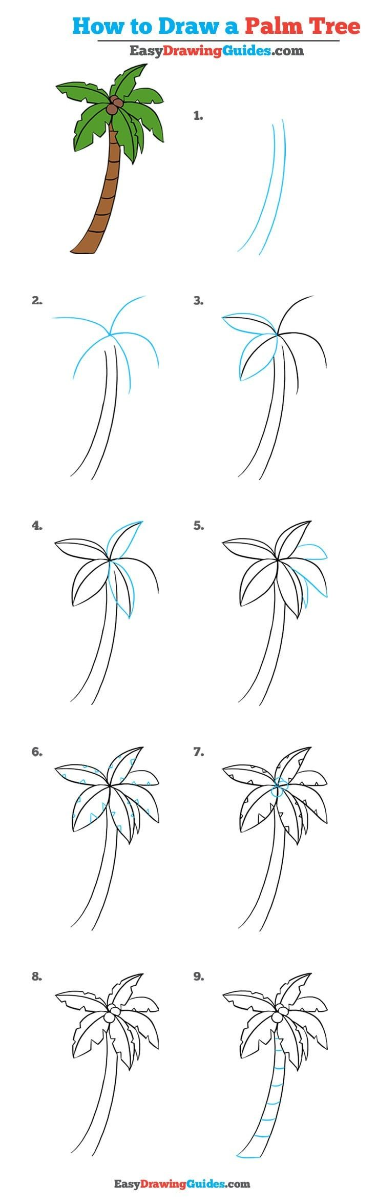 how to draw a palm tree really easy drawing tutorial
