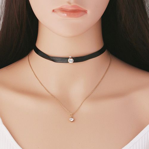 Goth Punk Black Suede / Leather Choker Necklaces