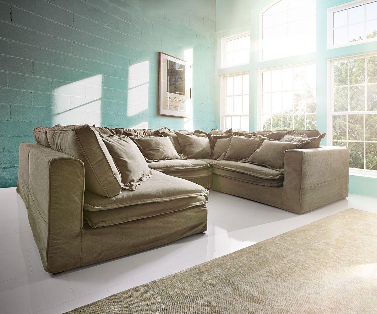 hussensofa sharona 337x234 cm braun mit kissen my pretty. Black Bedroom Furniture Sets. Home Design Ideas