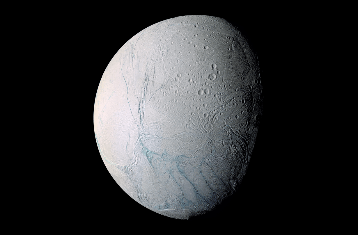 Enceladus (Saturn)  -  Top candidate for life. Plumes of vapor are emerging from Enceladus contain large amounts of molecular hydrogen. More importantly, this hydrogen seems to be the product of hydrothermal activity in the moon's ocean…and is a strong hint that the moon has conditions favorable to microbial life. Thick crust of ice cover the whole surface with liquid ocean beneath.