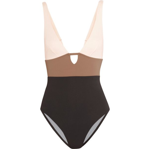 Iris and Ink Color-block cutout swimsuit ($97) ❤ liked on Polyvore featuring swimwear, one-piece swimsuits, brown, brown swimsuit, brown one piece swimsuit, cut out bathing suit, cut out swimsuit and cut-out swimwear