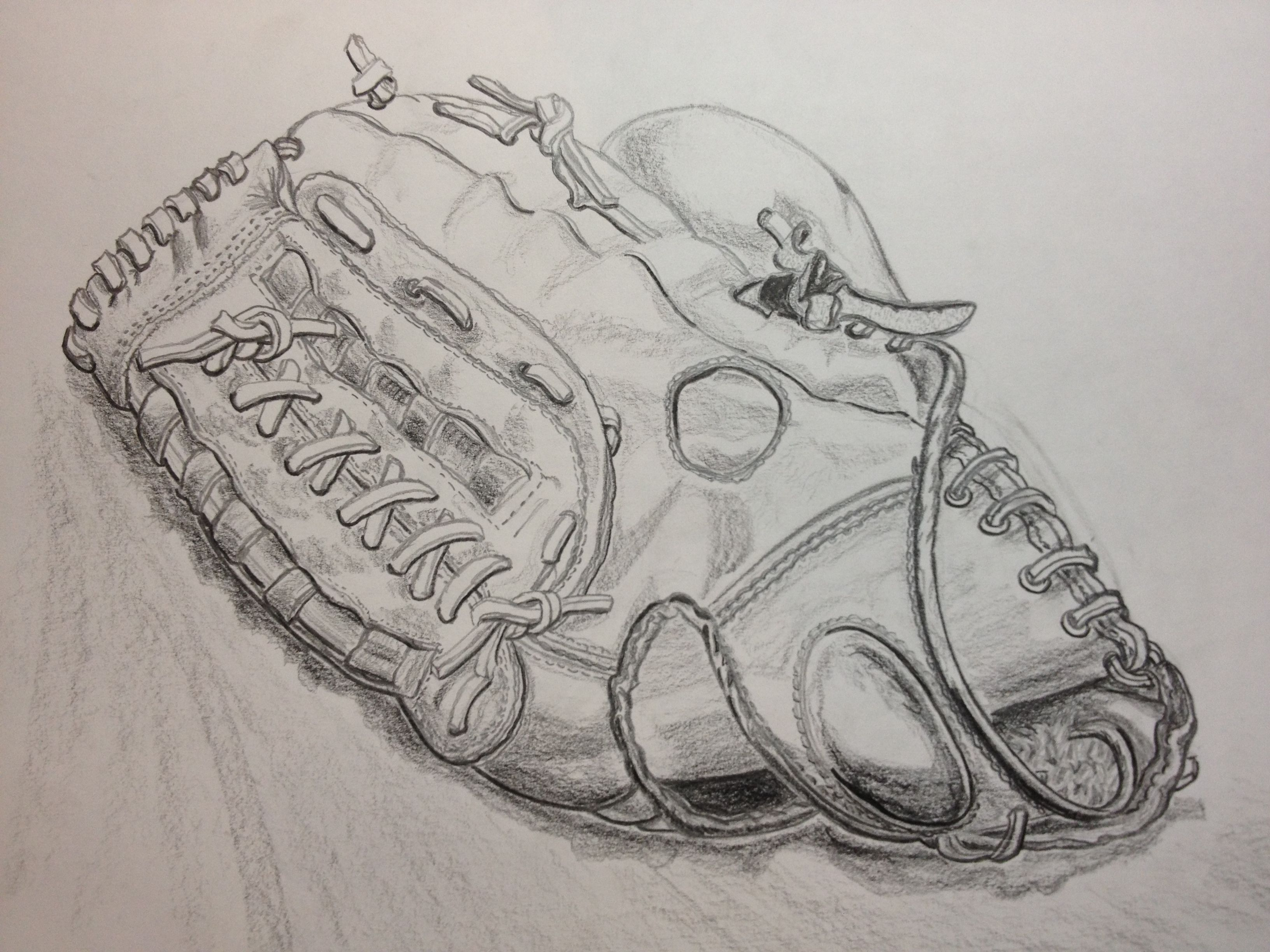 Pencil sketch of my baseball glove homework from design school by rodger barnes 1999