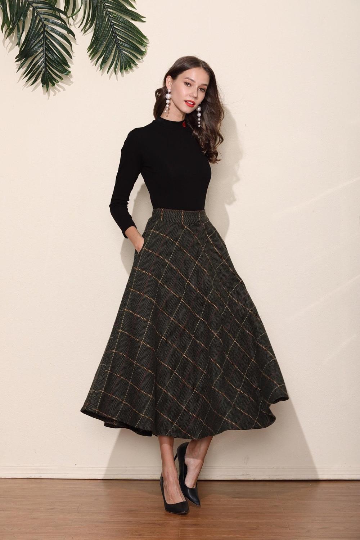 Dark Green Grid Wool Skirt Long Woolen Wool Party Skirt Evening Wedding Big Hem Dress Women Skirt Maxi Skirt Custom Size