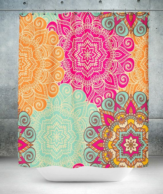 Boho Chic Mandala Shower Curtain Optional Bath By FolkandFunky