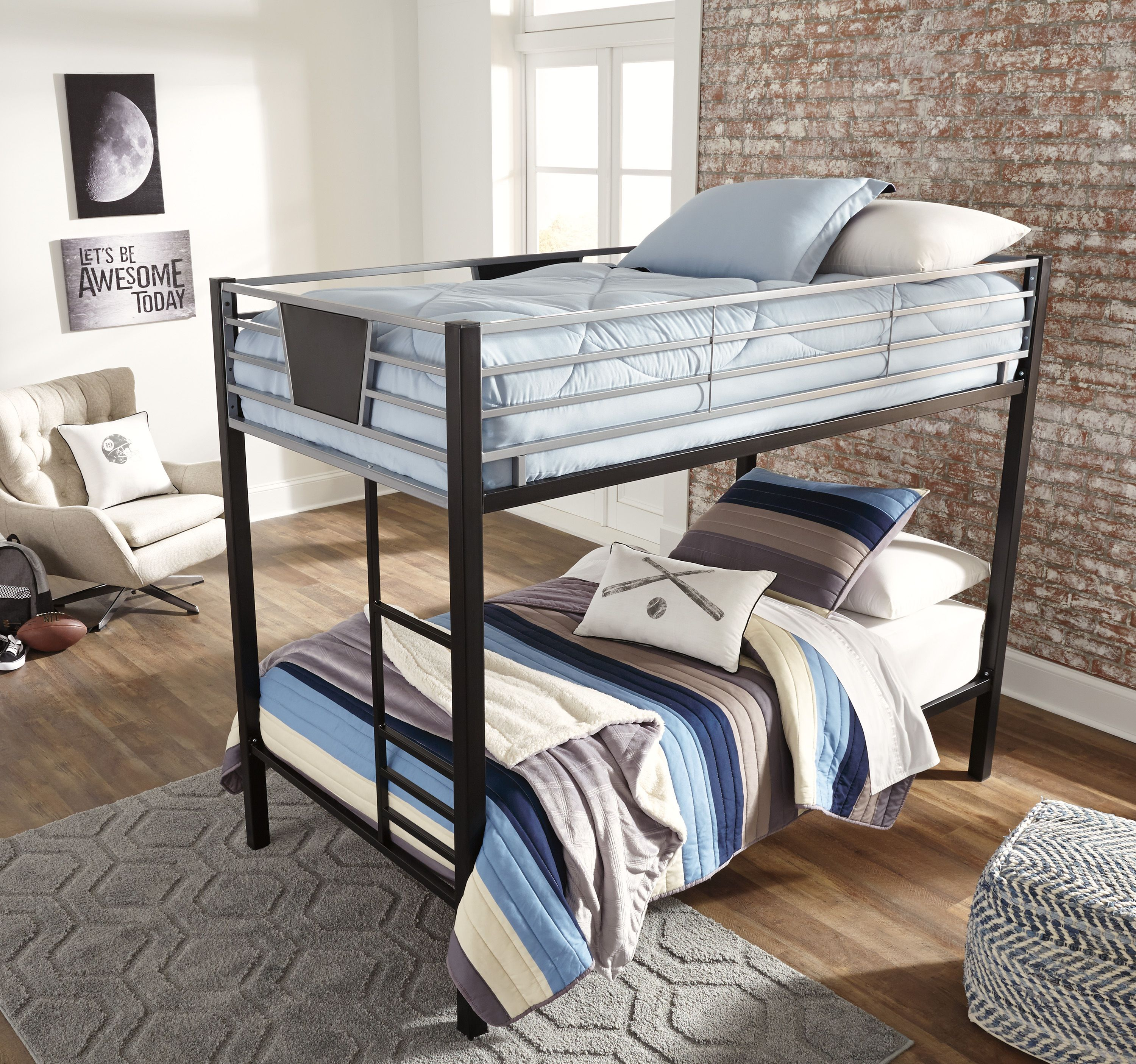 Dinsmore Twin/Twin Metal Bunk Bed w/ Ladder by Benchcraft