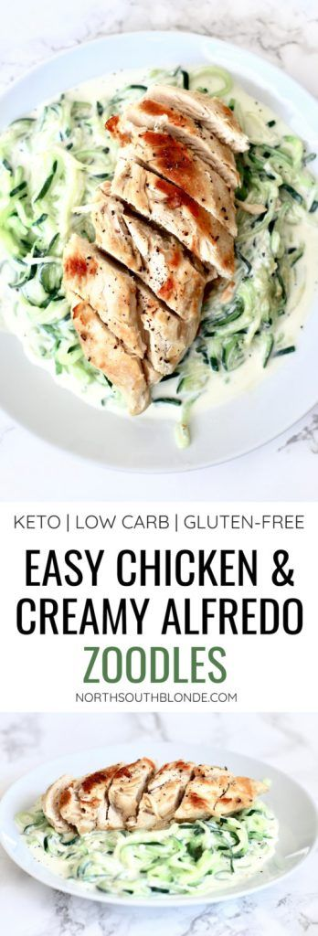Easy Chicken And Creamy Alfredo Zoodles Low Carb Keto Gluten Free Recipe Healthy Gluten Free Recipes Healthy Dinner Keto Diet Recipes