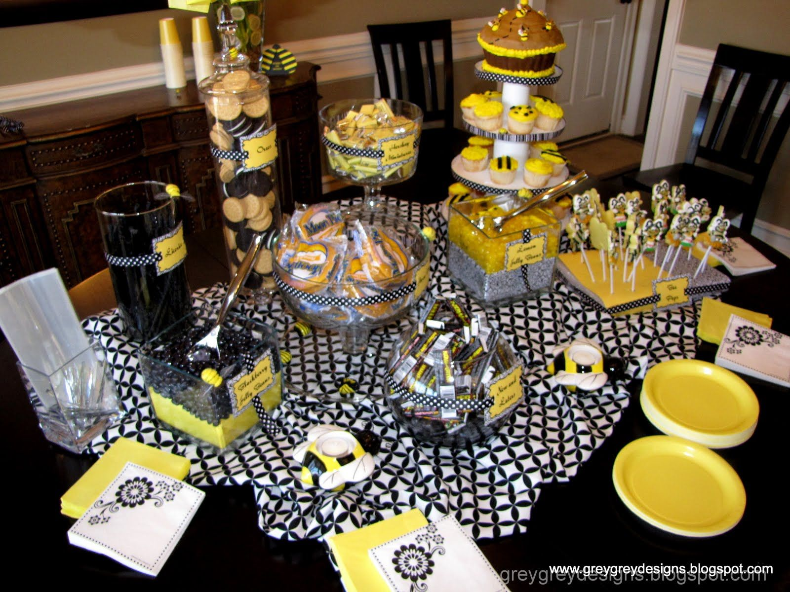 Bumblebee Gender Reveal Party Ideas Photo 2 Of 11 Gender Reveal Party Food Black And White Party Decorations Bee Baby Shower Theme