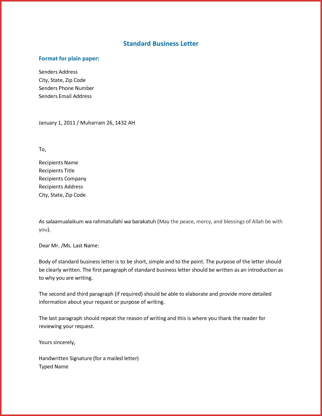 business letter format businessletterformatinword business letter