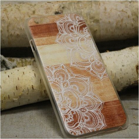 Mandalas  iPhone 6, 6S lace design phone case, cell phone cover, wood grain | CP4