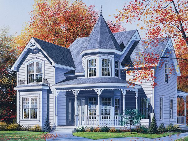 victorian house with turret | Palmerton Victorian Home Plan 032D ...