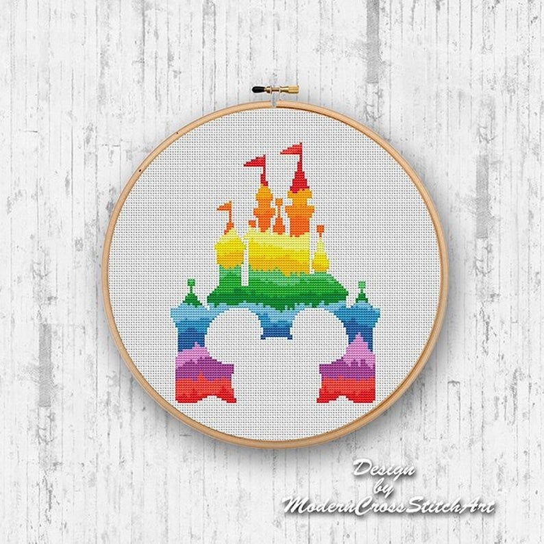 PDF Fairytale Castle Cross Stitch Digital Cross Stitch Pattern PDF Bright Cross Stitch Modern Xstitch Chart Embroidered Picture