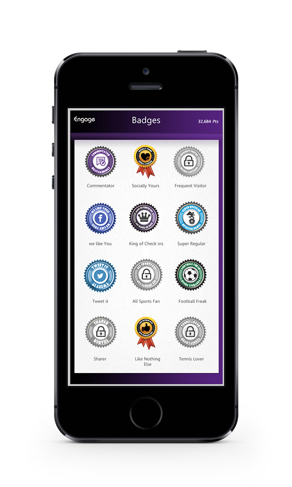 Engage Mobile App on Behance gamification badges awards 3d