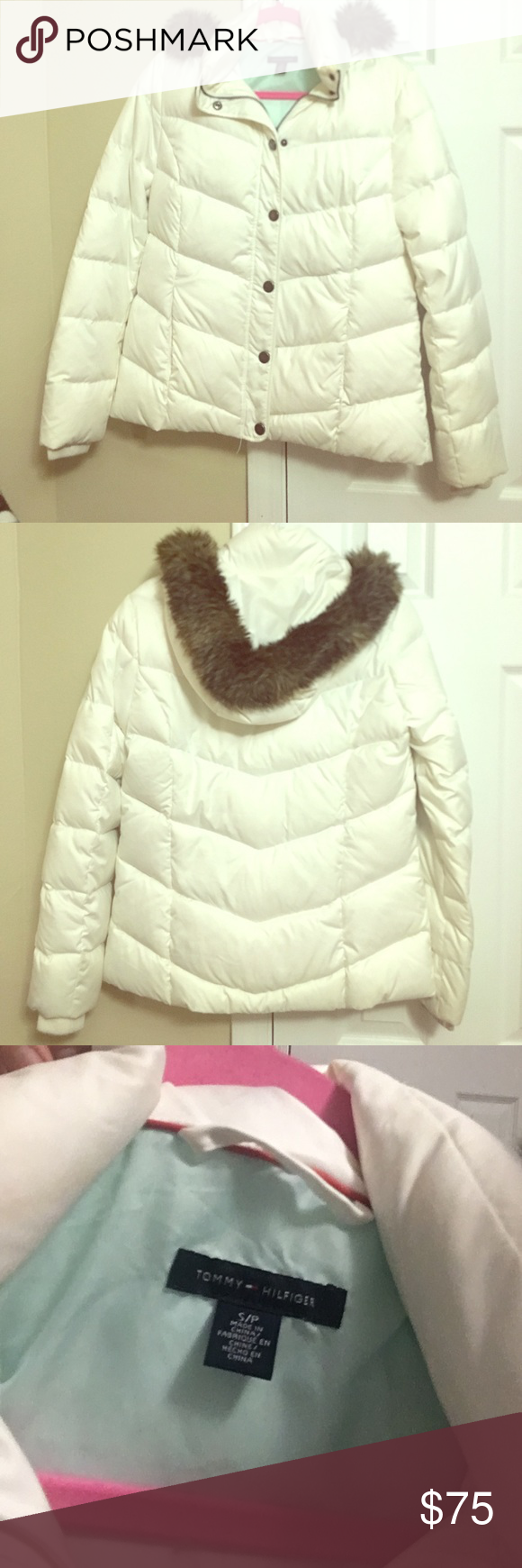 White Tommy Hilfiger jacket White warm Tommy Hilfiger jacket with hood Tommy Hilfiger Jackets & Coats Puffers