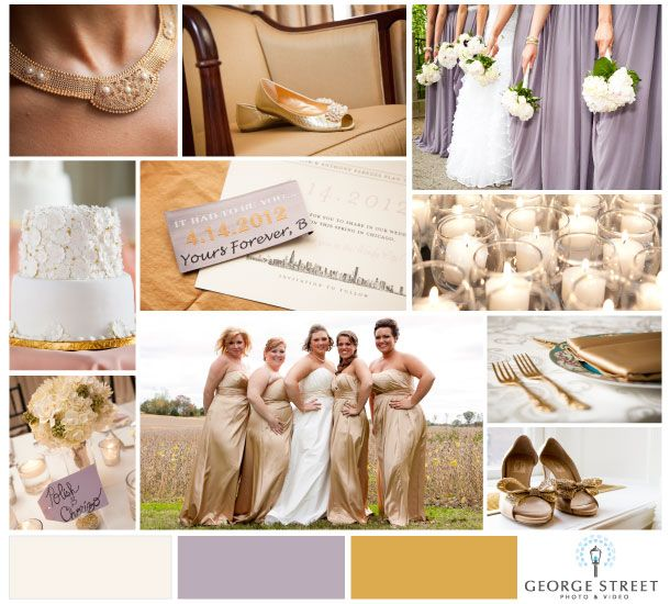 Gold & Lavender weddings. (don\'t love the gold bridesmaid dresses ...