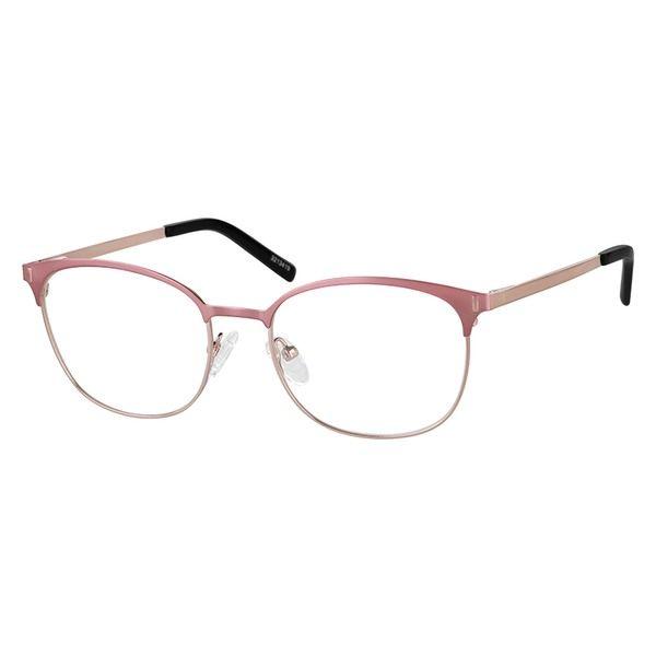 a6be2dcb28b Zenni Womens Browline Prescription Eyeglasses Pink Stainless Steel 3213419