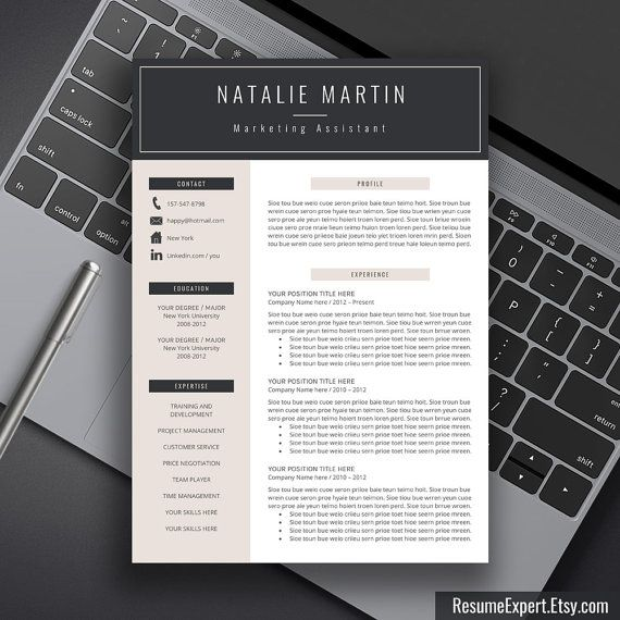 Professional Resume Template Bundle Cover Letter Cv: Resume Template Bundle, CV Template, Cover Letter, Word
