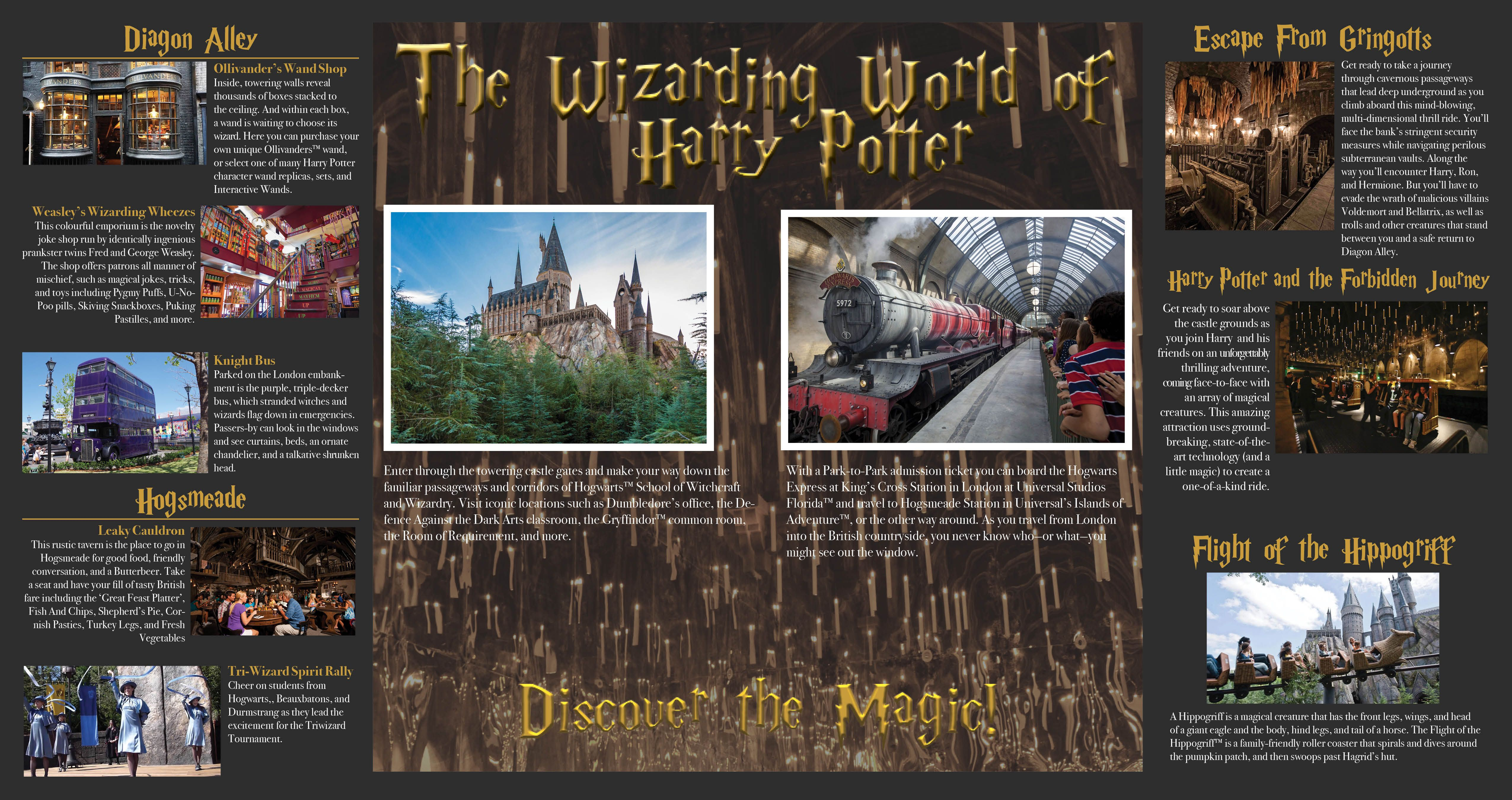 School Project Wizarding World Of Harry Potter Brochure Jennkeenadesigns Photo Design Photo Wizarding World Of Harry Potter
