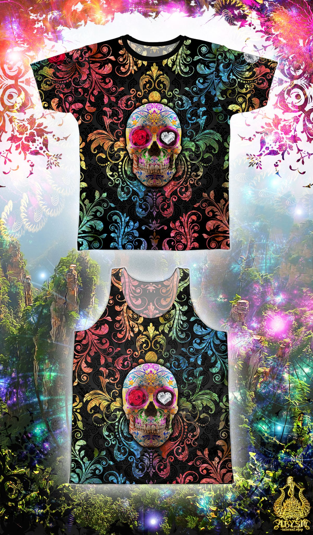 Sugar Skull Day of the Dead Tanktop Flowers Mexican Gothic Dia Los Muertos Tank