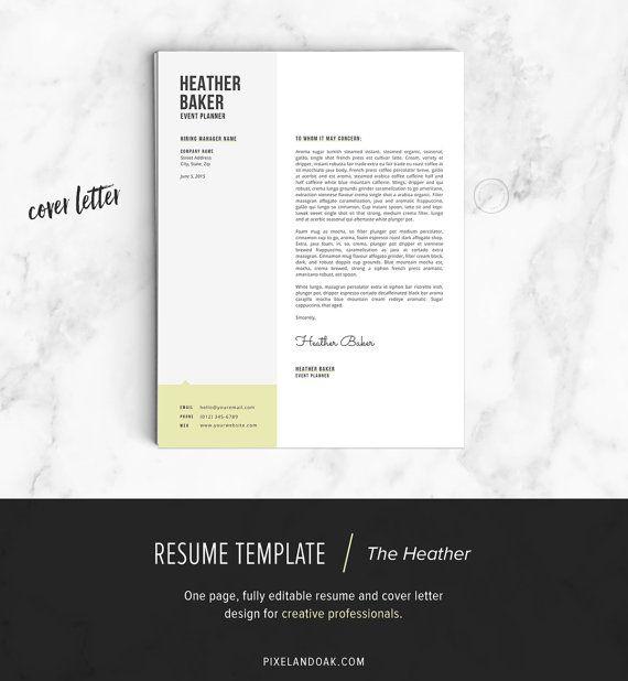 Resume Template, Resume Design, Cover Letter Template