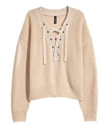 09797acf279e0 Knit Sweater with Lacing | Light beige | WOMEN | H&M US | Style ...