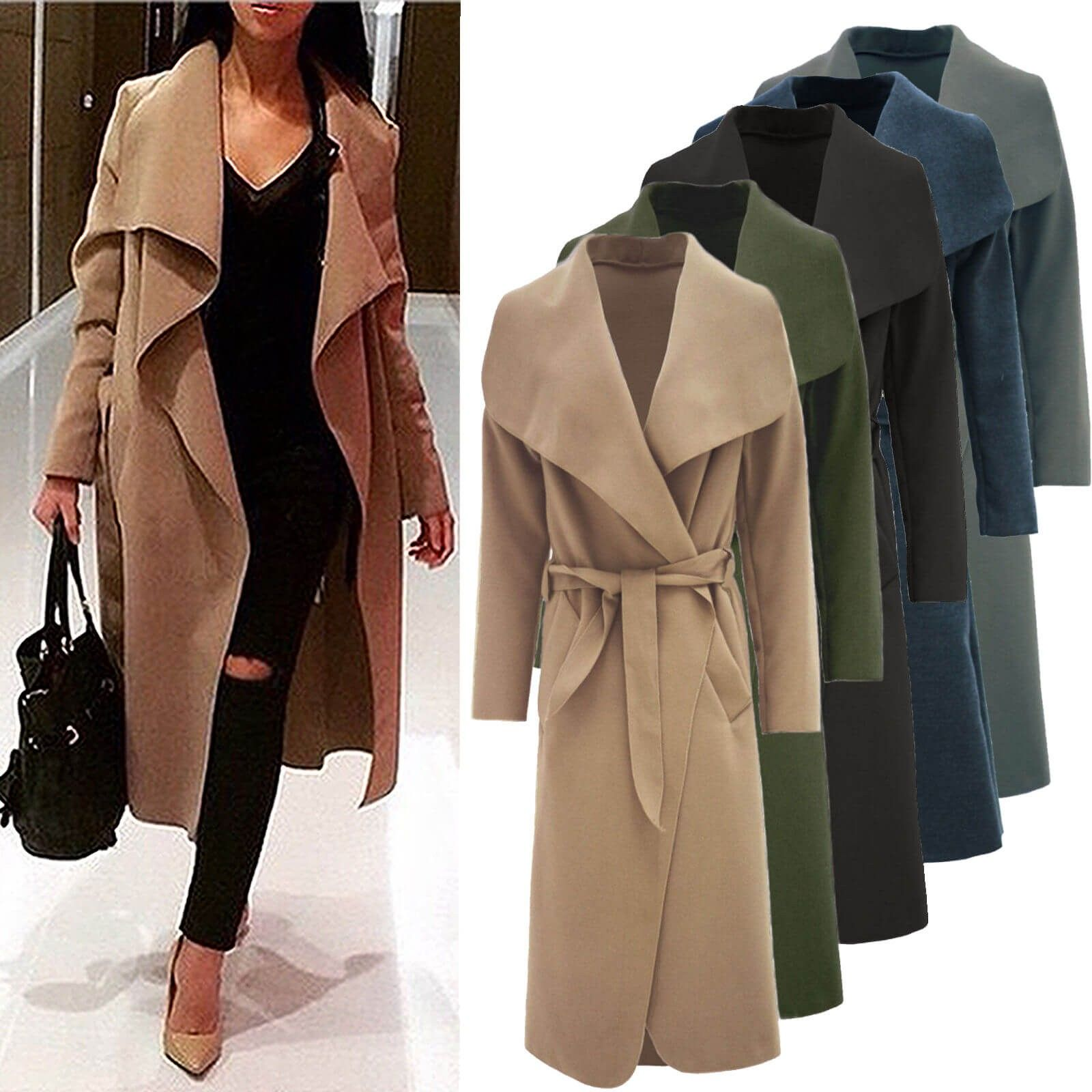 64e39941b69 Ladies Long Camel Waterfall Wrap Drape Belted Evening Winter Trench Jacket  Coat