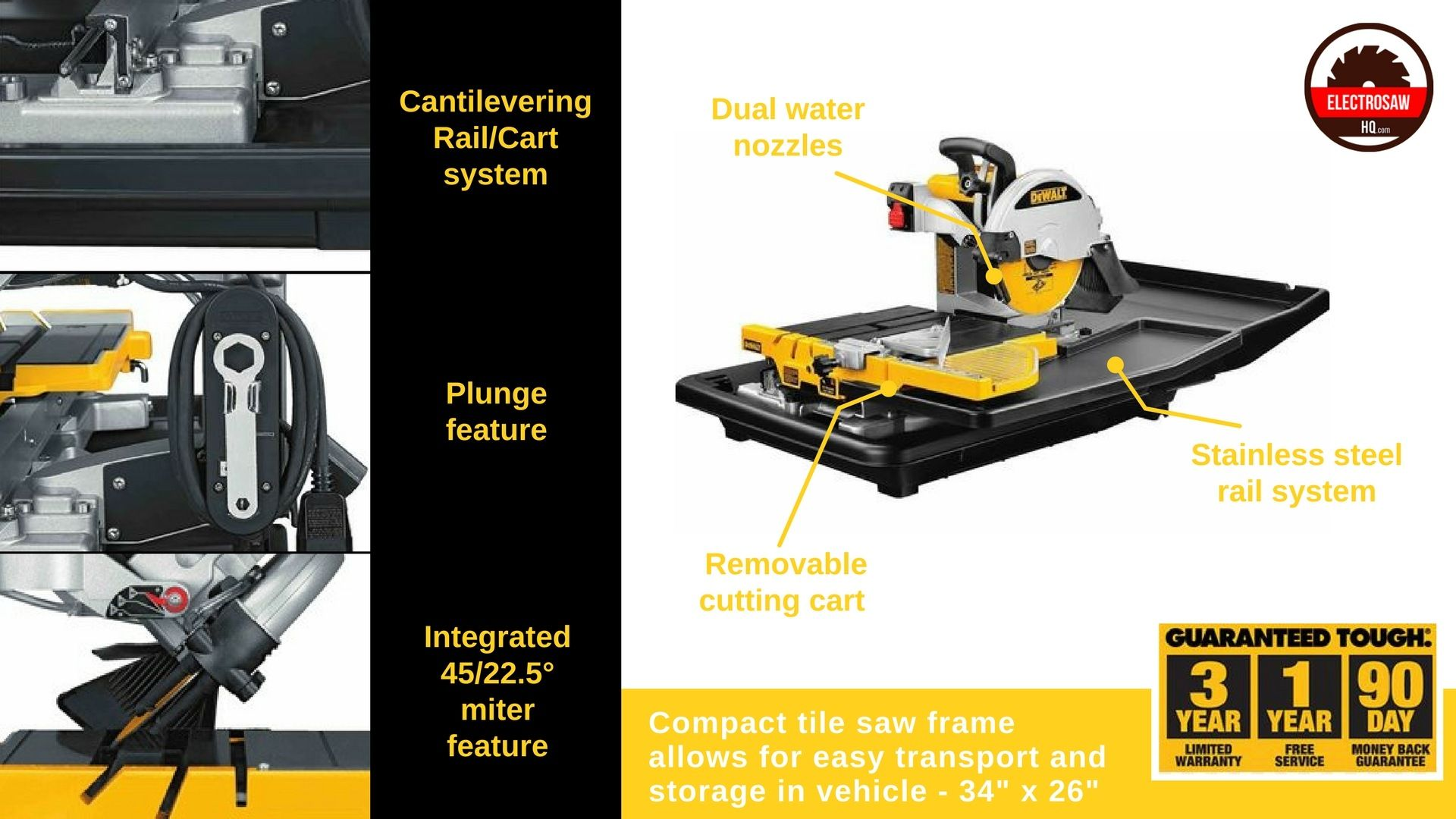 Dewalt D24000 1 5 Horsepower 10 Inch Wet Tile Saw Amazon Home Improvement Dewalt Tools Tile Saw Dewalt